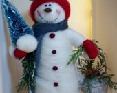 Feathered Friends Snowman Felted with Cardinal - NEW for 2013