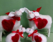 I Love Ewe Ewes Family of Felted Wool Sheep and Lambs