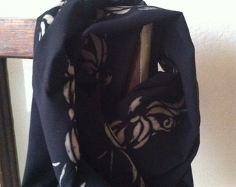 Infinity scarf black tan lightweight  for her Mother's Day gift