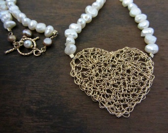 Crochet heart necklace- 14k Gold filled and white pearls necklace