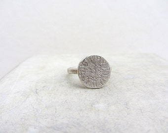 Round textured Sterling Silver Ring, Handmade sterling silver ring- size 6