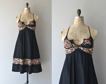 Lindisfarne dress • vintage 1970s black floral dress • Young Edwardian 70s dress