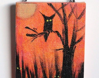 Halloween painting- hand painted art- black owl and tree on orange background, Halloween decoration, Halloween gift, creepy,  READY TO SHIP