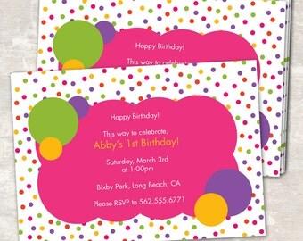 Polka Dot Birthday Party Invitations - Pink (set of 12) PRINT & SHIP