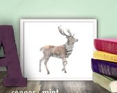 Deer Abstract Illustration Printable wall art 8x10 decor vintage silhouette drawing buck nature hunting wall decor CM2103