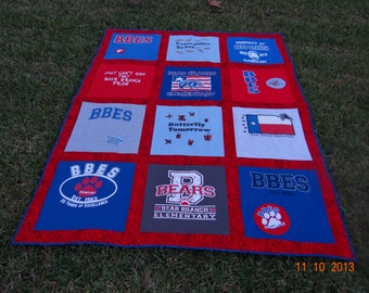 T shirt Memory Quilt with Your School Tee Shirts