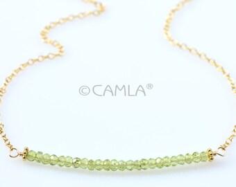 Gold Peridot Bar Necklace