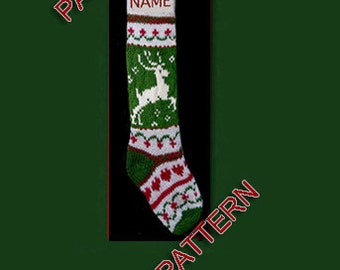 Hand knit Christmas stocking,  pattern only