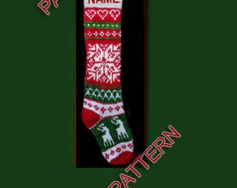 Pattern only  ---  Hand knit Christmas stocking, small reindeer and snowflake