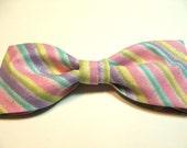 Pastel Glittery Striped New Bow Tie Men Adjustable Neckband Pretied Handmade Bowtie Pink Blue Lavender Gustys