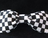Black and White Checks Bow Tie for Men Boys Adjustable Pretied New Handcrafted Bowtie Checkered Flag Gustys