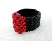 Peyote Ring / Seed Bead Ring / Beaded Ring in Red and Black / Delica Ring / Beadwork Ring / Size  5, 6, 7, 8, 9, 10, 11, 12, 13