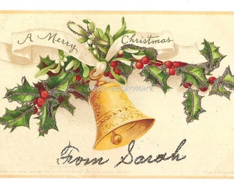 Merry Christmas vintage postcard Clapsaddle signed Holly Bell Glitter 1907