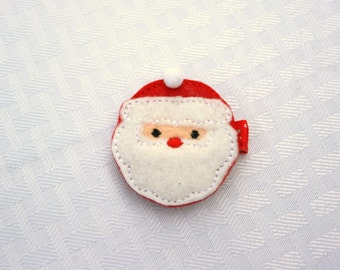 Ol' St. Nick Clippie, Red and White Santa Hair Clip