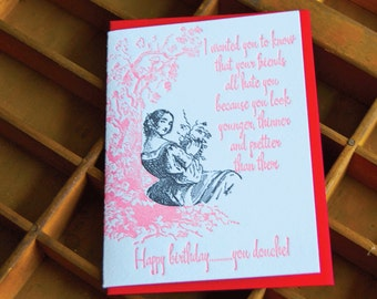 Birthday Douche- Letterpress greeting card, single