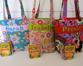 Flower Girl Gift, Personalized Kids Tote Bag, Quiet Tote, Personalized Kids Tote with Crayon Roll, Design Your Own, 100s Fabric Choices