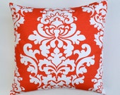 "Red white Damask Decorative Throw Pillow Cover - Lava Slub Berlin  - Available in 16"", 18"", 20"""