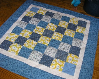 Quilted Table Runner / Topper / Wall Hanging, in Blue and Yellow Patchwork  24 x 24 inches