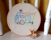 Embroidered Wall Hanging Hoop Art - 1950s  Retro Trailer Camper Embroidery