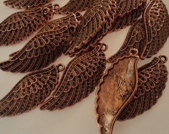 Antique Copper - Wing Charms - Set of 4 - #ACW108