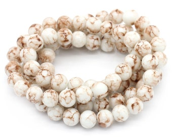 White & Brown Glass Beads - 10mm - Sold per strand - #GBS160