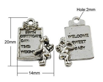Birth Certificate Charm - Baby Charms - Set of 10 - #HK1061