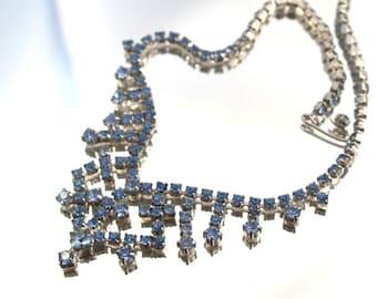 Vintage Blue Rhinestone Bib Necklace Choker  Wedding Bridal Formal