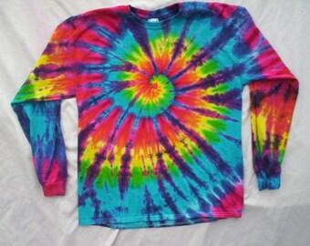 Rainbow Swirl Tie Dye Long Sleeve Size S - 5X