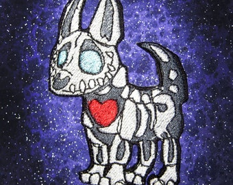 Skeleton Bone Dog Chihuahua Iron on Patch