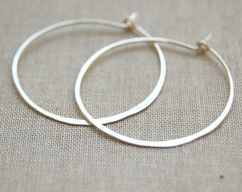 "Hammered Gold Filled or Sterling Silver 1"" Hoops, Brushed Matte Finish, Simple Lightweight Everyday Earrings"