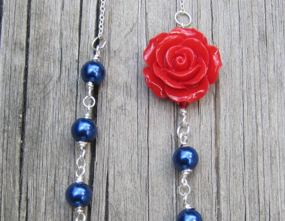 Red White and Blue Rose Necklace