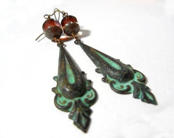 Verdigris Patina Glass Dangle Earrings Turquoise, Green Patinaed Brass Victorian Style Drops with Czech Glass