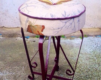 "Upcycled garden stool in Timorous Beasties ""butterflies"""