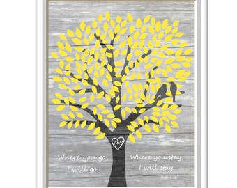 Ruth 1:16, Bible Verse,  Print, Love Birds, Art Print, 11 x 14, Where you go I will go