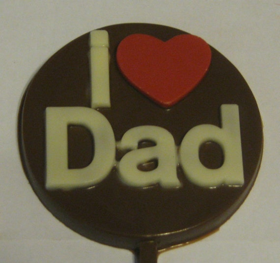 One dozen I Heart Dad lollipop sucker party favors fathers day birthday gifts