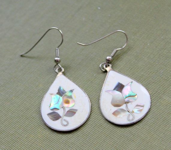 alpaca mexico earrings vintage earrings alpaca mexico abalone inlaid by 9488