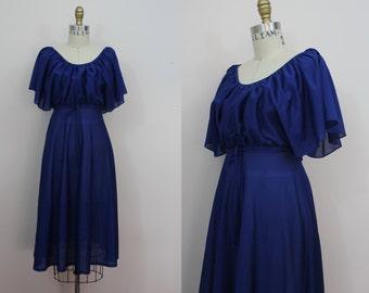 vintage 1970s dress / 70s navy blue dress / 70s boho dress / young edwardian dress / sz xs s small