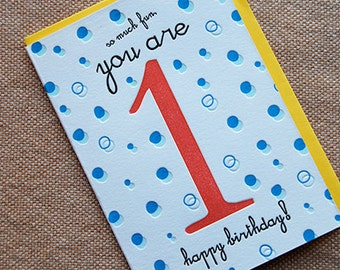 So Much Fun, You're 1 - Happy Birthday! - 4bar card and envelope