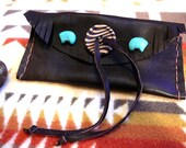 Bear Medicine Totem Native Inspired  Purse Bag Pouch / vintage leather, zuni style howlite bears