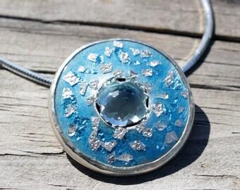 Enamel Pendant - Blue Enamel - Silver Enamel - Enamel Jewelry - Blue Topaz - Topaz Pendant - Topaz Necklace - Round Pendant - Sterling