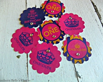 """Keep Calm and Birthday On 2"""" Scalloped Stickers...Set of 12 Stickers with Custom Wording"""