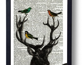Original Art Print on A Vintage Dictionary Book Page / Deer / Stag / Head and Birds / Kitch