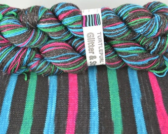 Comic Strip - Glitter - Hand-dyed Self-striping Glitter sock yarn