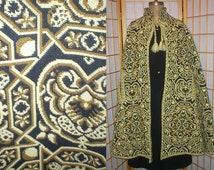 60s green / yellow wove tapestry cape one size fits most