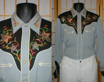 50s H Bar C rayon gabardine western shirt mens size medium