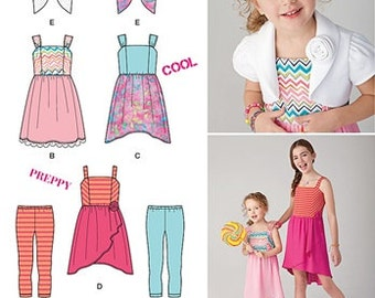 GIRLS CLOTHES PATTERN / Make Suede Says Child Dress - Leggings - Bolero / Sizes 3 to 6 Or 7 to 14
