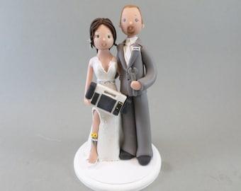 Custom Handmade Paramedic & Mechanic Wedding Cake Topper