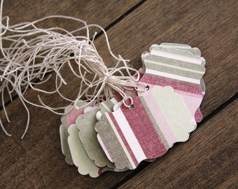 Handmade Paper Tags, Red Gift tags, Double Sided Tags, Gift Tags, Favor Tags