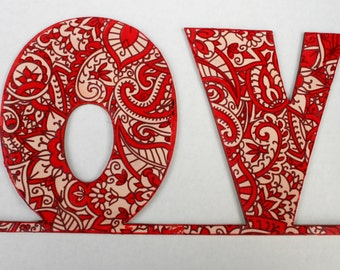 Wall word Love, Nursery Love, Red & White word Love