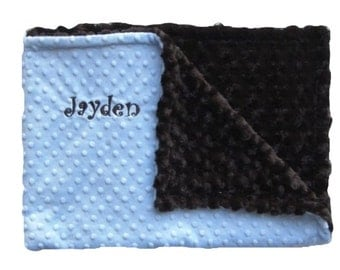 Blue and Brown Minky Baby Blanket Can Be Personalized